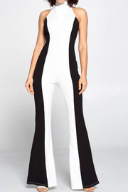 Two tone color solid jumpsuit.