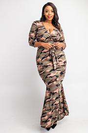 Plus Size 3/4 Sleeve surplice maxi dress.