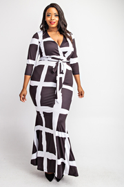 Plus Size 3/4 Sleeve surplice maxi dress.