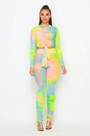 Neon Tiedye set with long sleeve bodysuit and leggings.