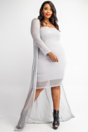 Plus Size Metallic Open Knit Maxi Cardigan and Tube Dress Set