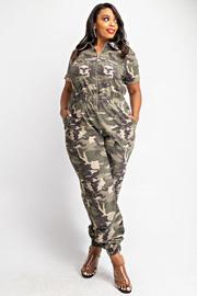 Plus Size Short Sleeve Zip Front Jumpsuit