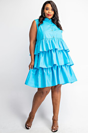 Plus Size Poplin Tiered Shirt Dress