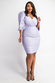 Plus Size Hologram Ballon Sleeve Surplice Dress