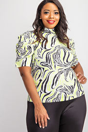 Plus Size Pleated Short Sleeve Top