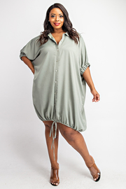 Plus Size Short Dolman Sleeve Button Down Shirt Dress with Draw Cord Hem