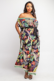 Plus Size Off Shoulder Jumpsuit with Pockets