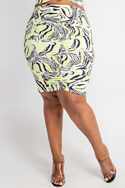 Plus Size Knee Length Skirt with Runched Details