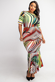 Plus Size Boat Neck Short Sleeve Long Dress with Ruffle Hem