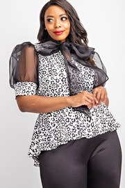 Plus Size Ballon Short Sleeve Peplum Top with Neck tie