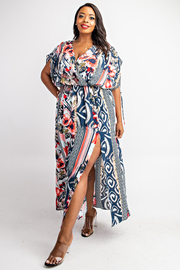 Plus Size Surplice Maxi Dress with Draw cord Sleeve Details
