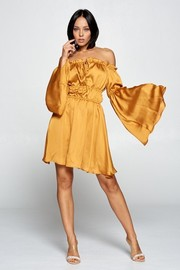 Off shoulder drawstring mini dress, bell sleeves, ruched elastic detail.