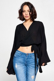 Solid Deep V neck tie wrap around top.