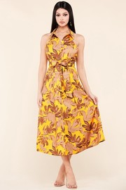 This mustard colored midi dress.