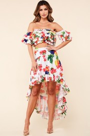 Fruity garden print two piece set.