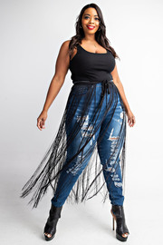 Plus Size Fringe skirt belt.