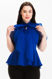 Plus Size Balloon short sleeve peplum top with neck tie.