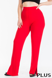 Plus Size Ribbed leggings with slit detail.