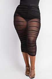 Plus Size Mesh ruched maxi skirt.