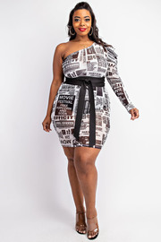 Plus Size Pleated sleeve one shoulder dress. *Belt not Included*uded*