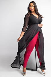 Plus Size 3/4 Sleeve surplice maxi top.