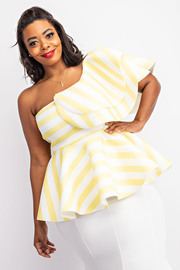 Plus Size Stripe one shoulder multi ruffle peplum top.