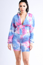 Tie dye printed corset zip up hoodie and short set.