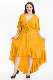 Plus Size Wrap Deep V neck Waist tie Midi Dress with Short Sleeve