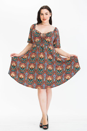 Plus Size Printed Midi Dress Square neck with Short Sleeve