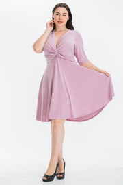 Plus Size Solid 3/4 Sleeve Midi Dress With Plunging neck