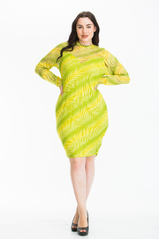 Plus Size Long Sleeve Mesh Midi Dress