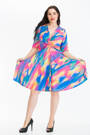 Plus Size Printed Short Sleeve Plunging V Neck Midi Dress