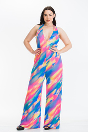 Plus Size Sleeveless Plunging neck Halter Jumpsuit with Wide Legs