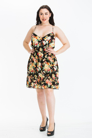 Plus Size Floral Printed Strap V neck Dress with a Open Back
