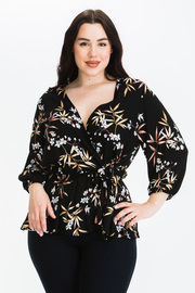 Plus Size Floral Print Wrap top with Waist tie