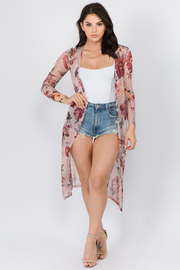 Floral Print Mesh Long Sleeve Cardigan.