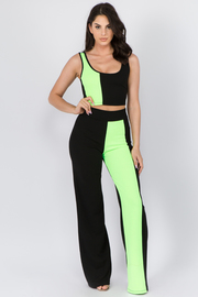 Color Block Cropped Tank top with Pants set.