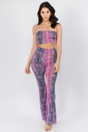 Snake Print Cropped Tube Top with Wide leg pants Set.
