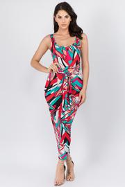Printed Sleeveless Midi Dress with Waist tie.