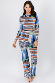 Print Long Sleeve Cropped Mock neck top and Wide Leg Pants