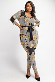 Plus Size 3/4 Sleeve jumpsuit with waist tie.