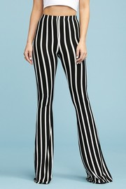 Stripe Flare Pants Elastic Waistband Pull On Closure.