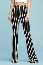 Stripe Flare Pants Elastic Waistband Pull On Closure.