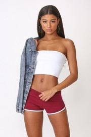 Solid knit shorts.