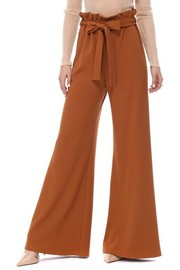 Plus Size Wide leg elastic band with tie waist scuba crepe fabric.