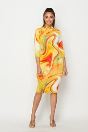 Marble printed 3/4 sleeved mock neck midi dress.