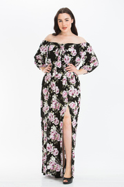 Plus Size Off the Shoulder 3/4 sleeves Maxi Dress with a Slit