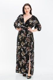 Plus Size Plunging V Neck with Long Sleeves Maxi dress with Slit