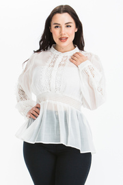 Plus size sheer solid top with lace detailing