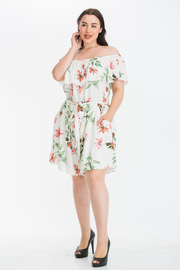 Plus Size Off Shoulder Print Romper with Pockets and Waist tie